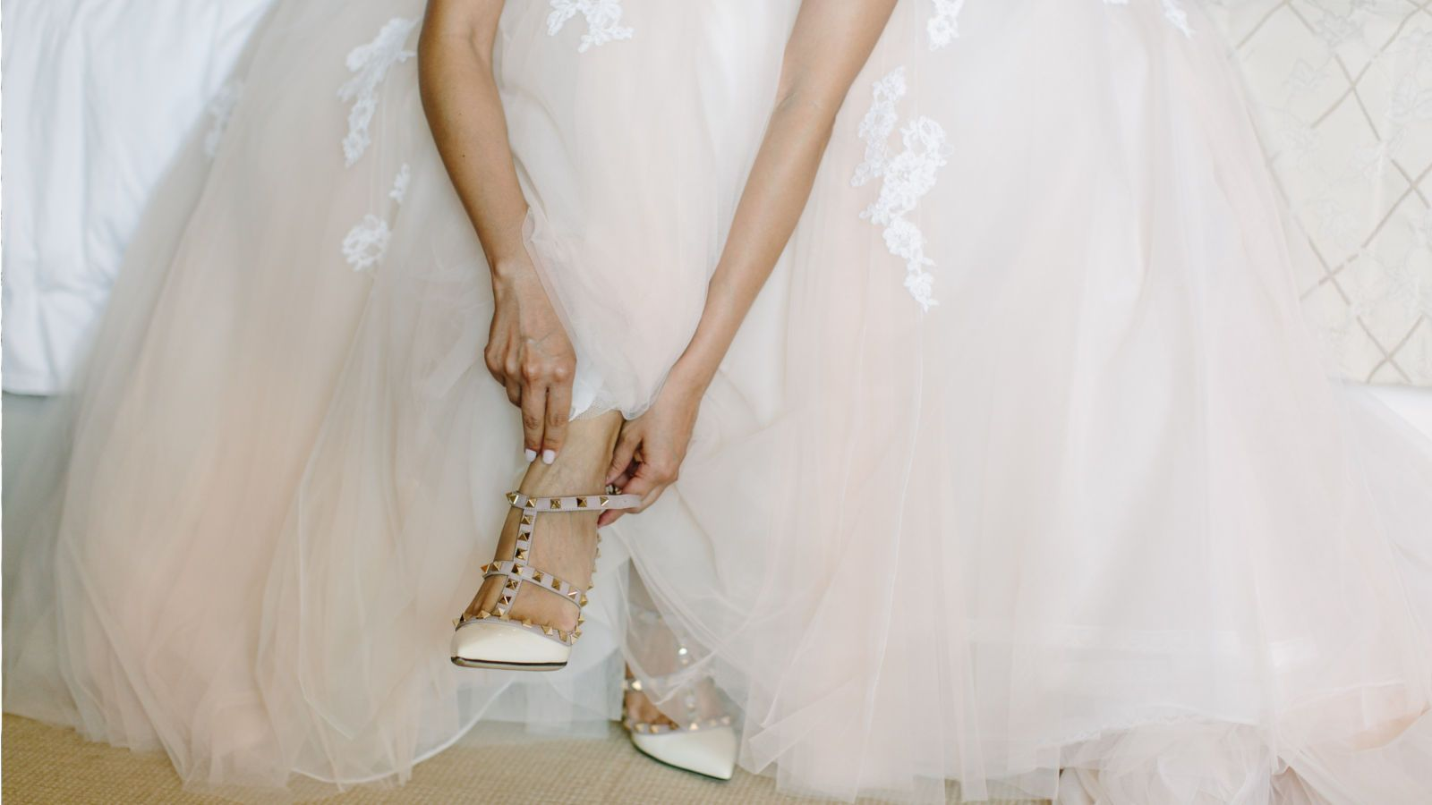 Wonderful bride dress and shoes at The St. Regis Mardavall Mallorca Resort