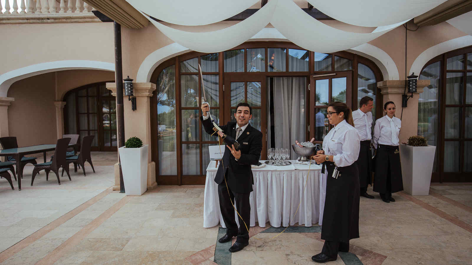 Champagne reception at the terrace bar of The St. Regis Mardavall